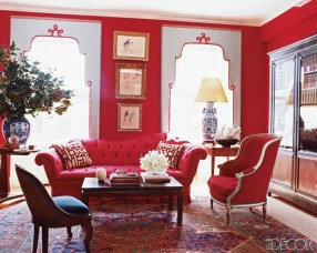 Amazing Red Apartment Living Room For Valentine31