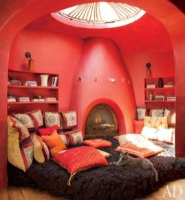 Amazing Red Apartment Living Room For Valentine41