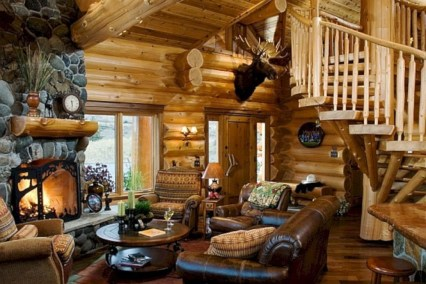 Gorgeous Log Cabin Style Home Interior Design06