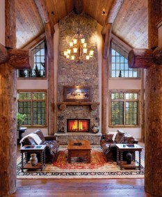 Gorgeous Log Cabin Style Home Interior Design16