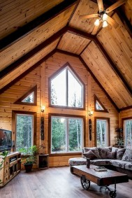 Gorgeous Log Cabin Style Home Interior Design18