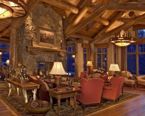 Gorgeous Log Cabin Style Home Interior Design26