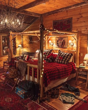 Gorgeous Log Cabin Style Home Interior Design43