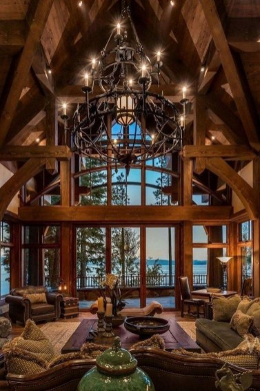 Gorgeous Log Cabin Style Home Interior Design45