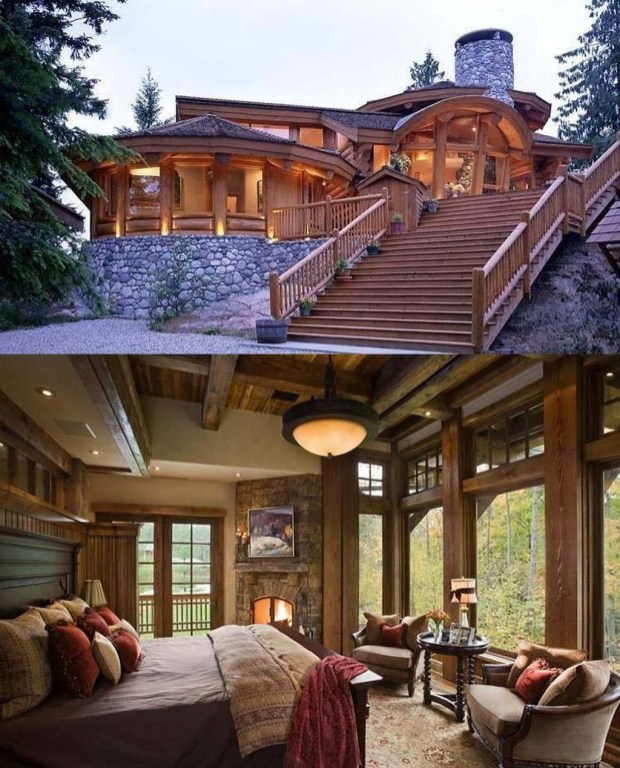 Gorgeous Log Cabin Style Home Interior Design47