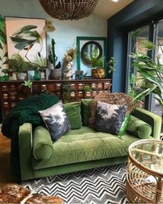 Awesome Living Room Green And Purple Interior Color Ideas19