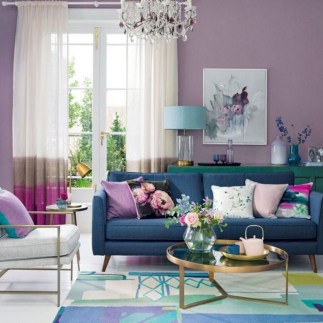 Awesome Living Room Green And Purple Interior Color Ideas32