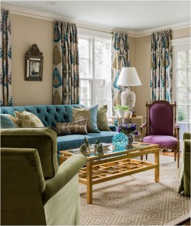 Awesome Living Room Green And Purple Interior Color Ideas34