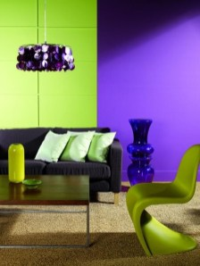 Awesome Living Room Green And Purple Interior Color Ideas38