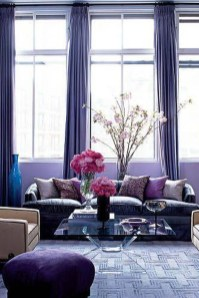 Awesome Living Room Green And Purple Interior Color Ideas40