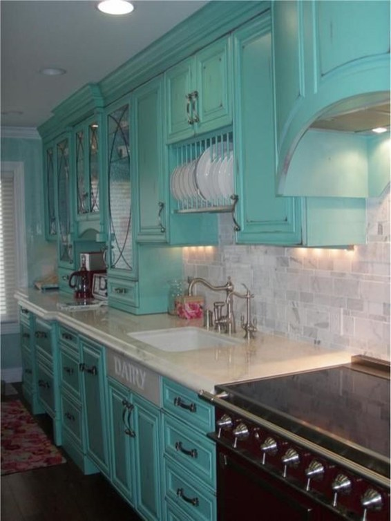 Impressive Gray And Turquoise Color Scheme Ideas For Your Kitchen38