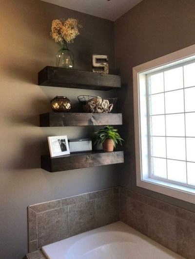 Interesting Floating Wall Shelves For Your Bathroom Style Ideas34