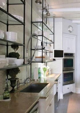 Wonderful Industrial Kitchen Shelf Design Ideas To Organize Your Kitchen26