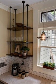 Wonderful Industrial Kitchen Shelf Design Ideas To Organize Your Kitchen28