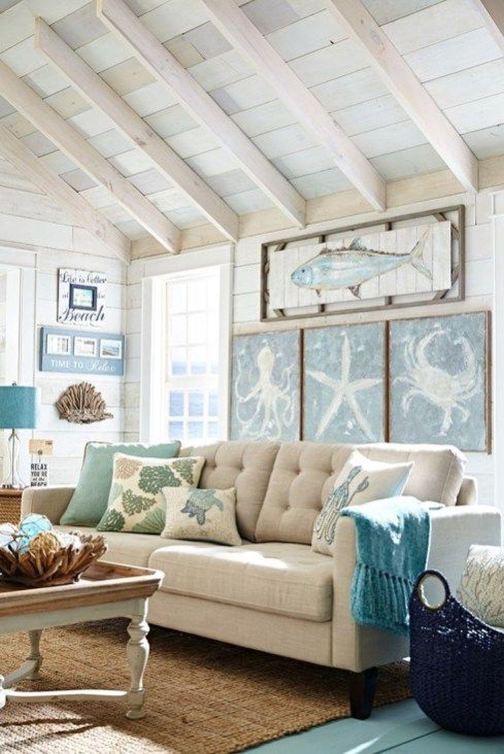 37 Elegant Coastal Themed Living Room Decorating Ideas ...