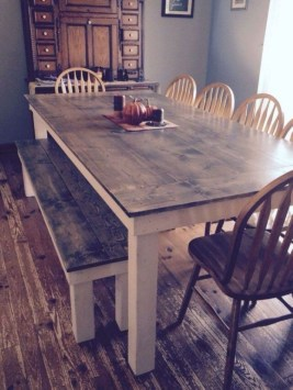 Pretty Farmhouse Table Design Ideas For Kitchen07
