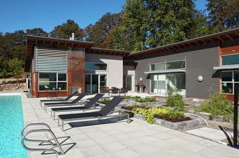 Minimalist Metal Home with Pool