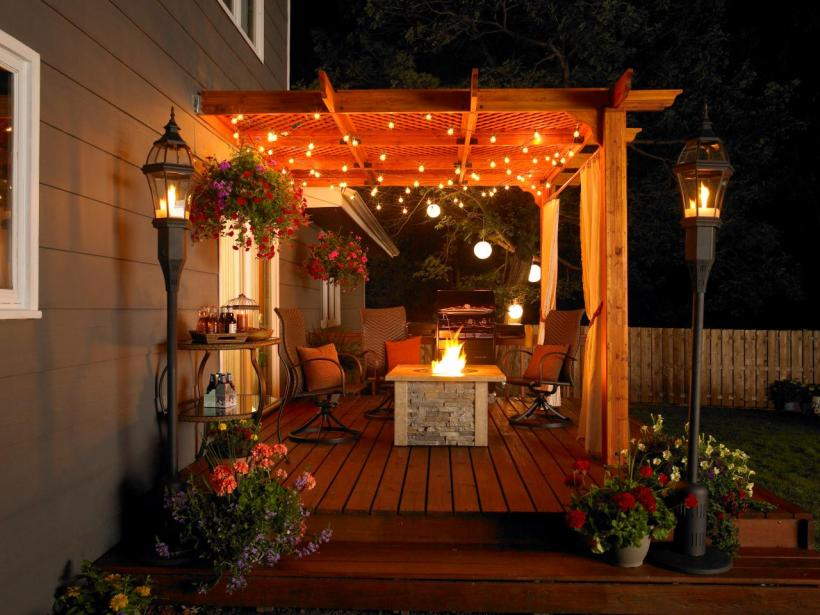 Charming Patio with Pergola and String Lights