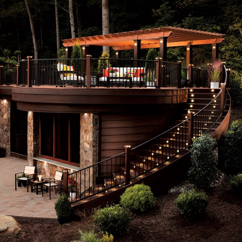 Chic Two-Story Deck with Lighted Stairways