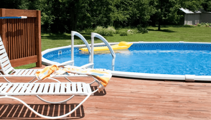 Above Ground Pool with Spacious Sunbathing Area
