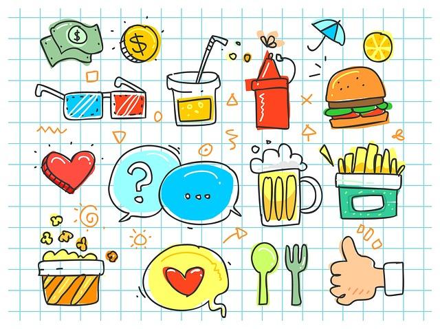 彩色食物插畫
