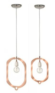 Collection Jewels, Hind Rabii, 45 x 35 x 150 cm, ampoule led et anneaux en métal finition cuivre, à partir de 372 €. www.hindrabii.net
