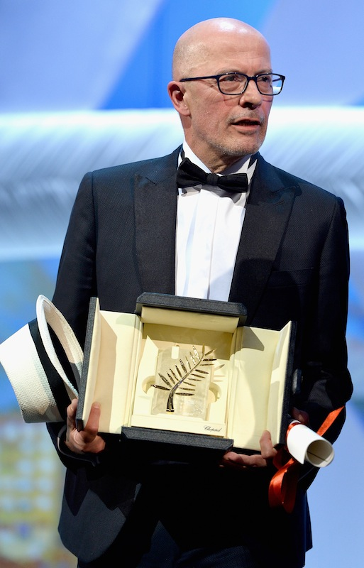 CANNES, FRANCE - MAY 24:  Director Jacques Audiart poses with The Palm d'Or for his film 'Dheepan' at the closing ceremony during the 68th annual Cannes Film Festival on May 24, 2015 in Cannes, France.  (Photo by Pascal Le Segretain/Getty Images)