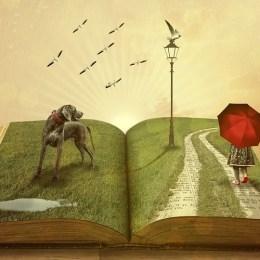 Offenes Buch mit Parklandschaft