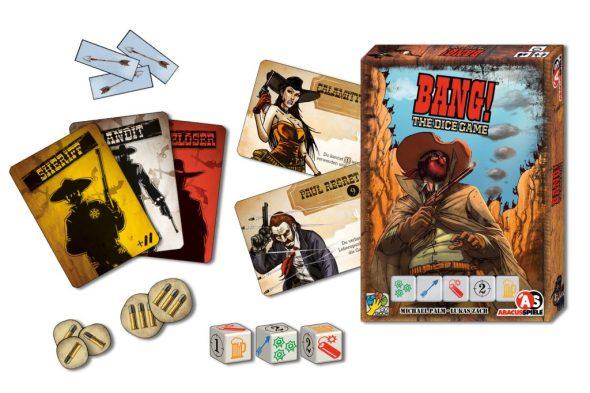Spielmaterial von BANG! The Dice Game: Karten, Würfel, Verpackung