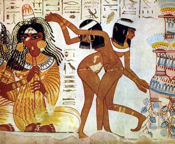 GLasbenik in plesalke, staroegipčanska freska