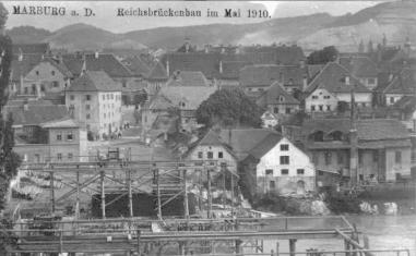 Most v gradnji leta 1910