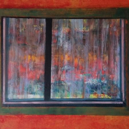 Vlasta Črčinovič Krofič: Dež, akril na platnu, 50 cm x 60 cm