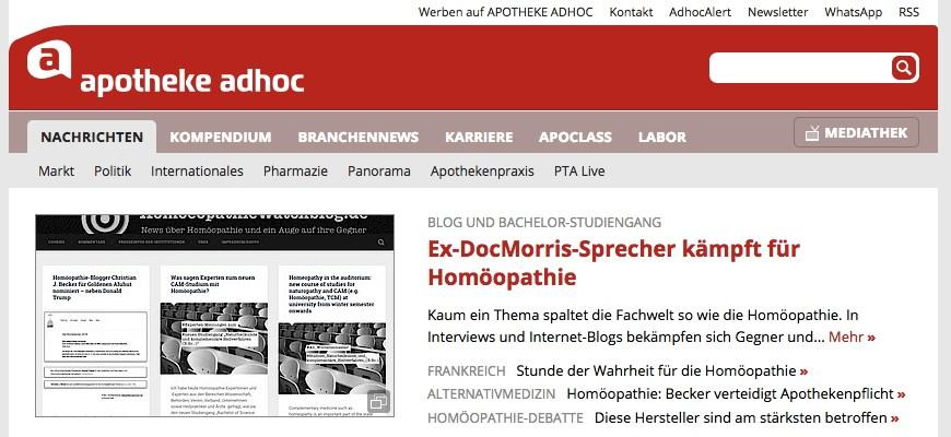 Apotheke Adhoc Homöopathie