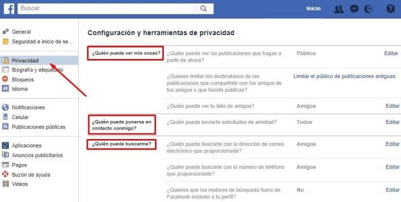 Proteger privacidad en Facebook