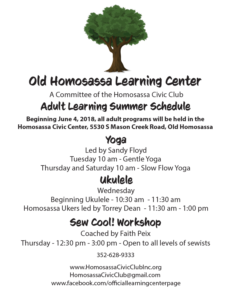 OHLC Adult Learning Summer Schedule