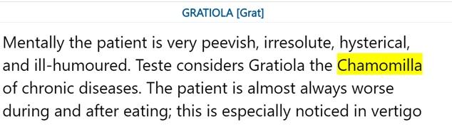 Chamomilla of chronic diseases – Gratiola