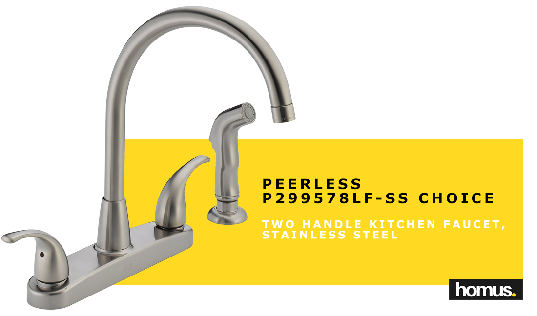Peerless P299578LF-SS Choice Two Handle Kitchen Faucet, Stainless Steel