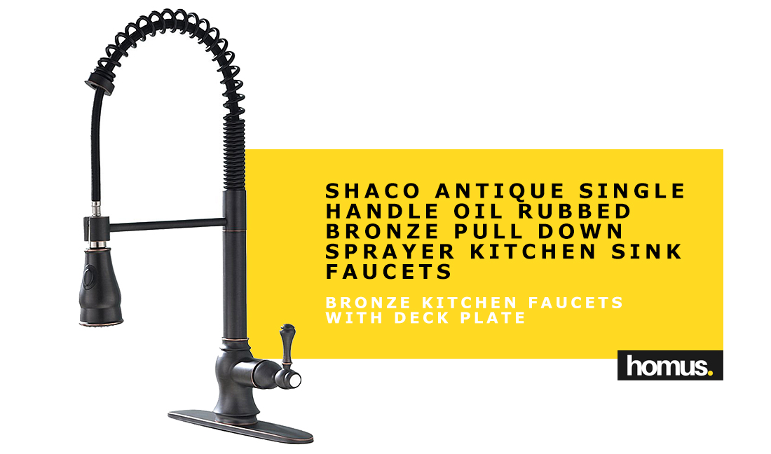 Shaco Antique Single Handle Oil Rubbed Bronze Pull Down Sprayer Kitchen Sink Faucets, Kitchen Faucets Bronze With Deck Plate