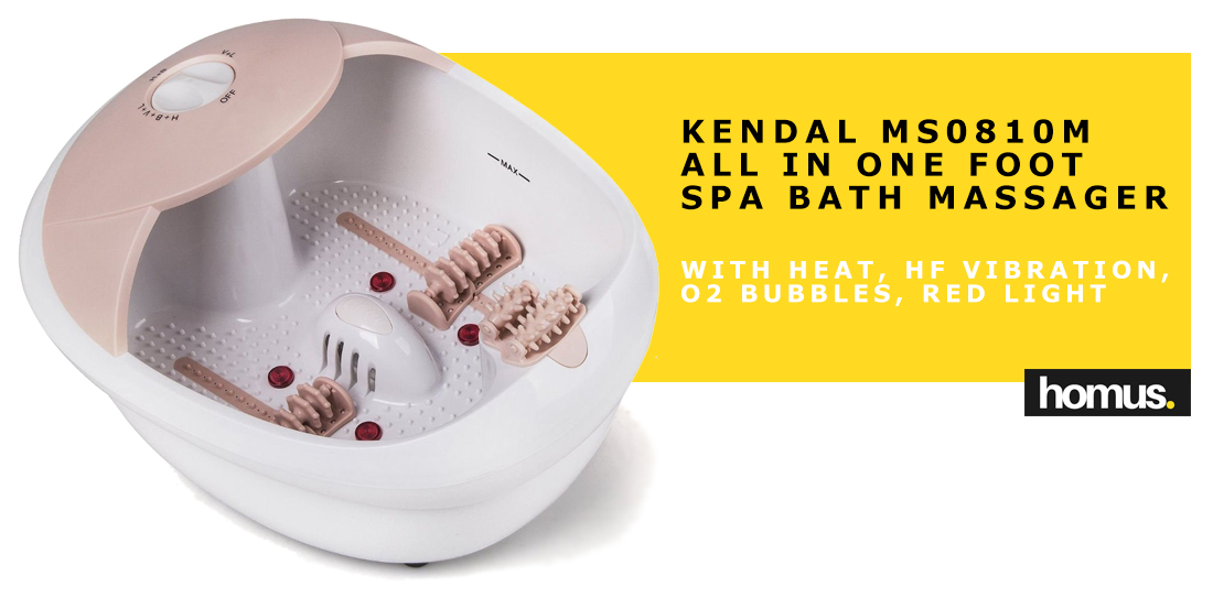 All in one foot spa bath massager w heat, HF vibration, O2 bubbles red light MS0810M