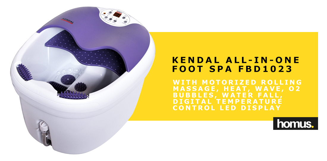 Kendal All in one foot spa bath massager motorized rolling massage, heat, wave, O2 bubbles, water fall, digital temperature control LED display