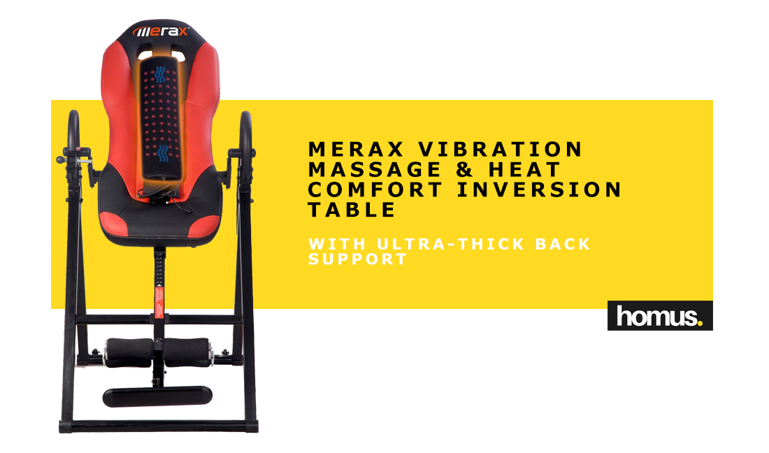 Merax Vibration Massage & Heat Comfort Inversion Table with Ultra-Thick Back Support 1