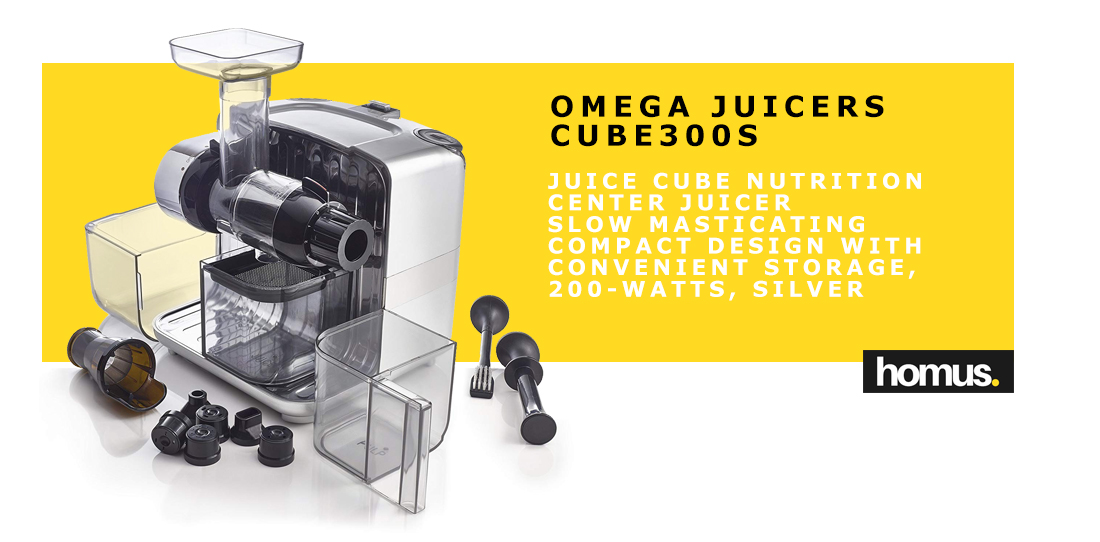 Omega Juicers CUBE300S Juice Cube Nutrition Center Juicer Creates Fruit Vegetable and Wheatgrass Juice Slow Masticating Compact Design with Convenient Storage, 200-Watts, Silver