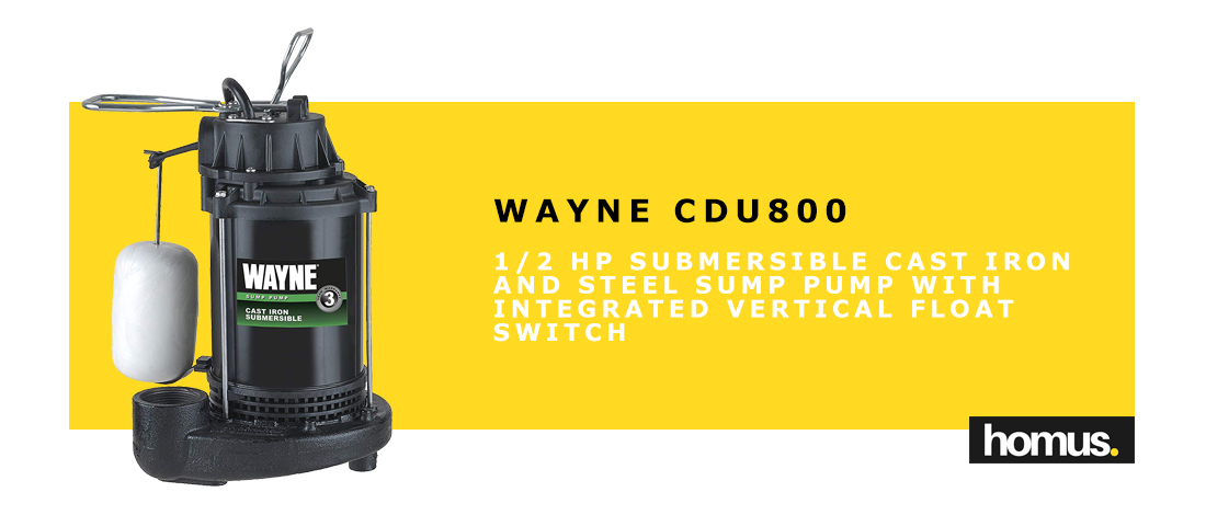 WAYNE CDU800 1_2 HP Submersible Cast Iron and Steel Sump Pump With Integrated Vertical Float Switch