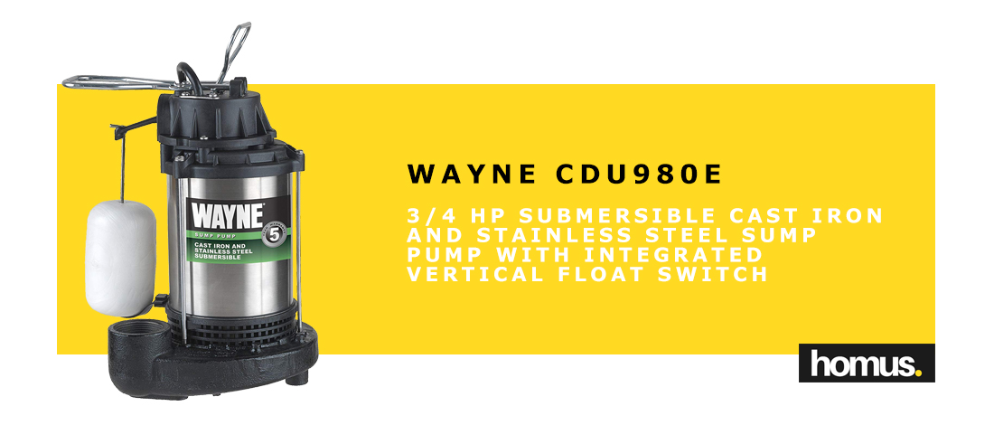WAYNE CDU980E 3_4 HP Submersible Cast Iron and Stainless Steel Sump Pump With Integrated Vertical Float Switch