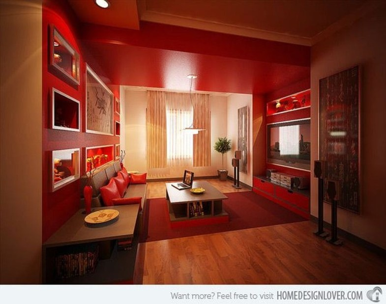 Sweet Living Room Decor Ideas With Red Color For Valentines Day 06