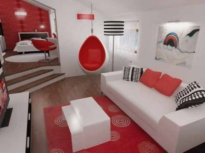 Sweet Living Room Decor Ideas With Red Color For Valentines Day 15