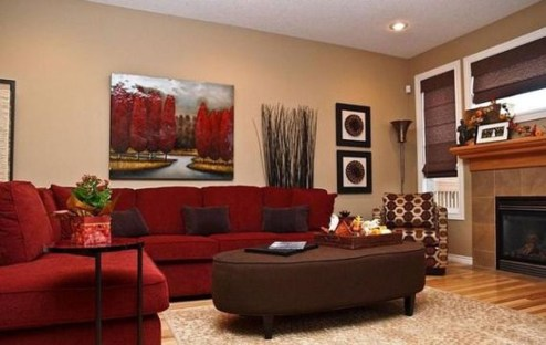 Sweet Living Room Decor Ideas With Red Color For Valentines Day 36