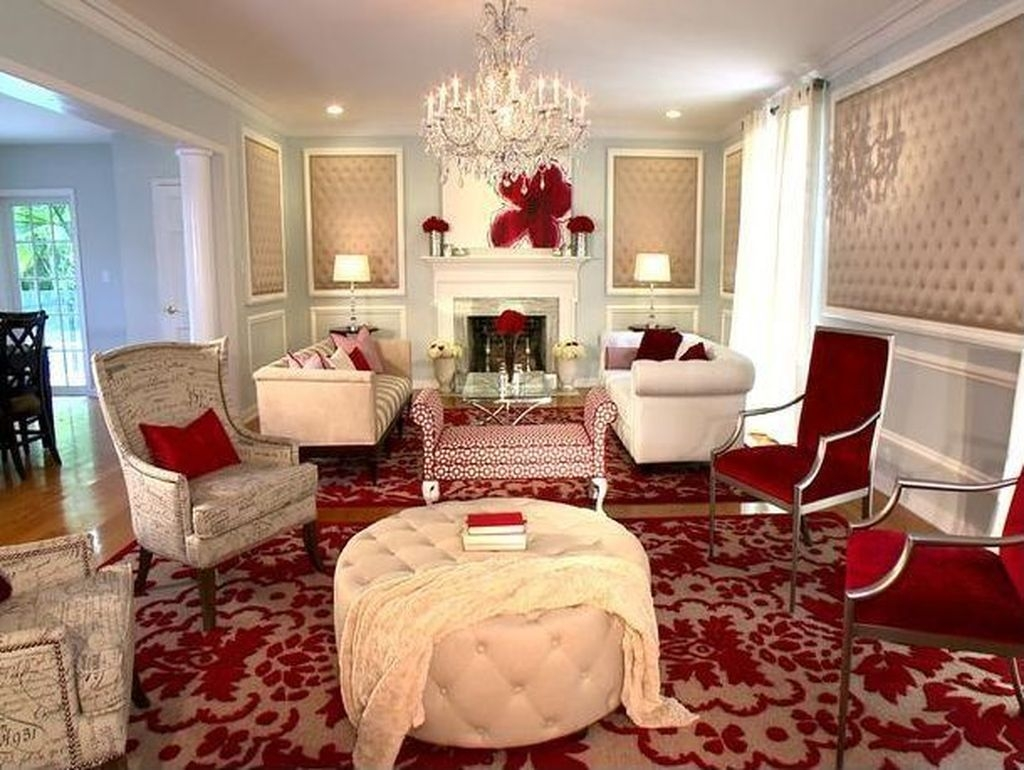 Sweet Living Room Decor Ideas With Red Color For Valentines Day 41