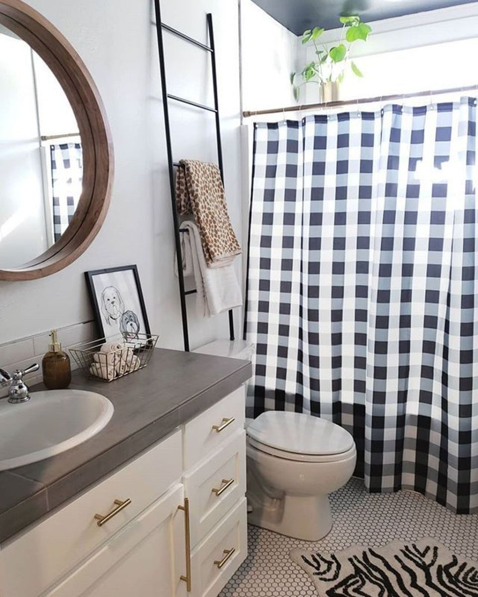 Amazing Black And White Shower Curtain For Your Bathroom Decor 02