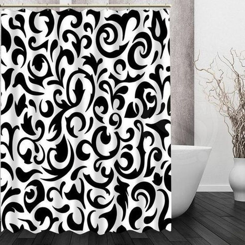 Amazing Black And White Shower Curtain For Your Bathroom Decor 04